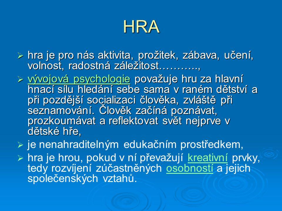 HRA hra je pro nás aktivita, prožitek, zábava, učení, volnost, radostná záležitost………..,