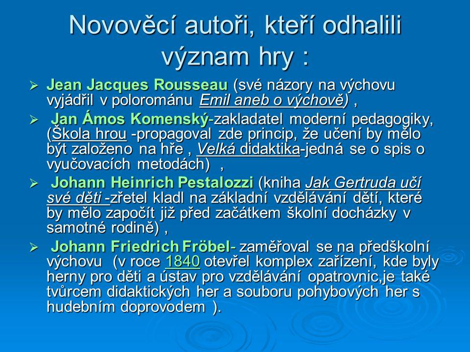 Novověcí autoři, kteří odhalili význam hry :