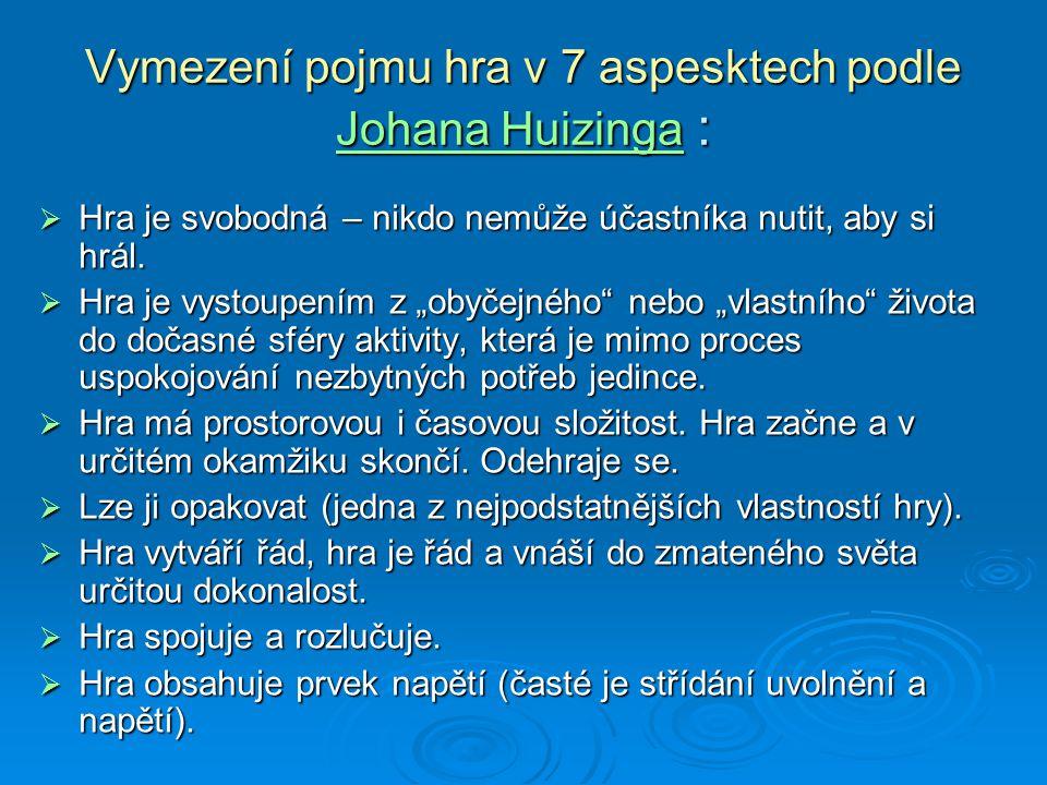 Vymezení pojmu hra v 7 aspesktech podle Johana Huizinga :