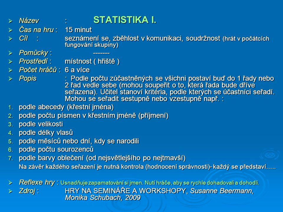 Název : STATISTIKA I. Čas na hru : 15 minut. Cíl : seznámení se, zběhlost v komunikaci, soudržnost (hrát v počátcích fungování skupiny)