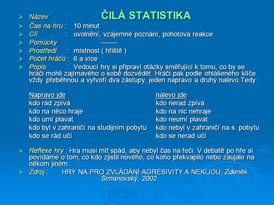 Název : ČILÁ STATISTIKA