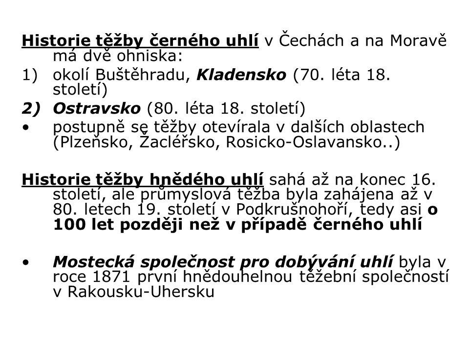 Historie těžby černého uhlí v Čechách a na Moravě má dvě ohniska:
