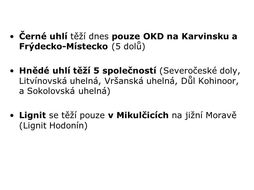 Černé uhlí těží dnes pouze OKD na Karvinsku a Frýdecko-Místecko (5 dolů)