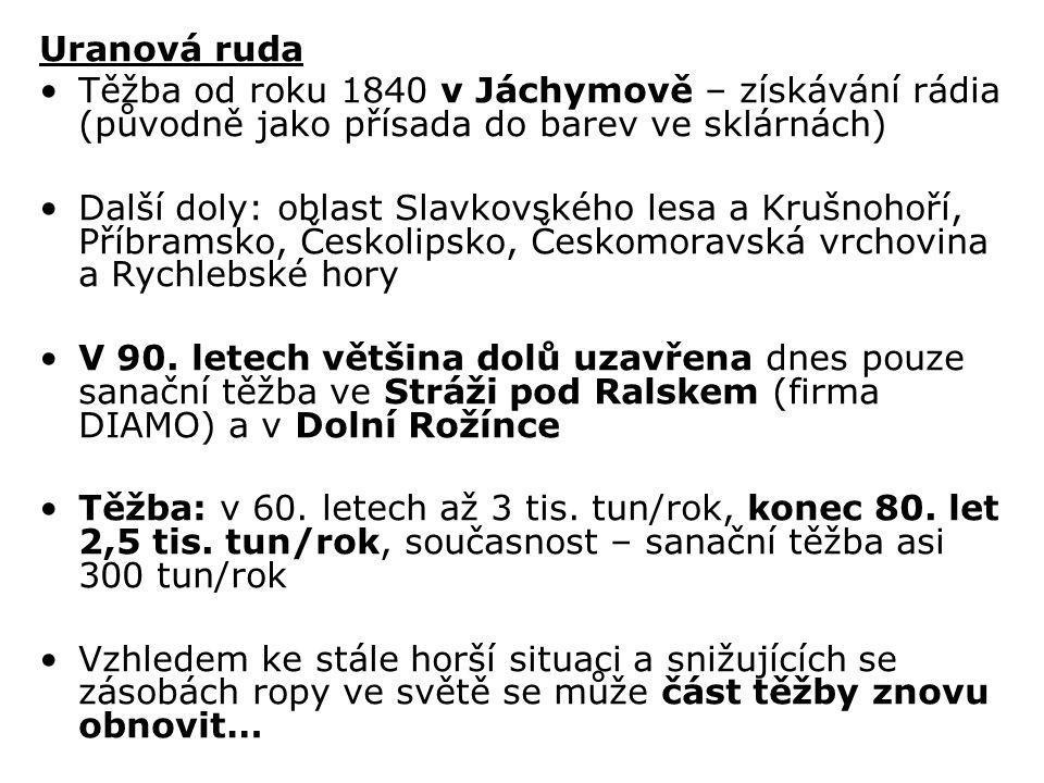 Uranová ruda Těžba od roku 1840 v Jáchymově – získávání rádia (původně jako přísada do barev ve sklárnách)