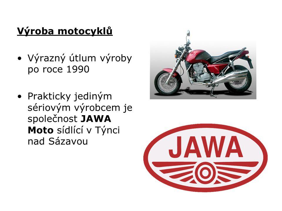 Výroba motocyklů Výrazný útlum výroby po roce 1990.