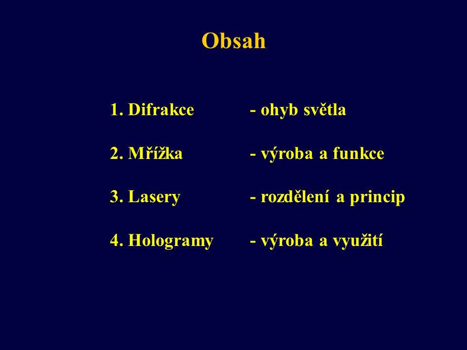 Obsah 1. Difrakce - ohyb světla 2. Mřížka - výroba a funkce