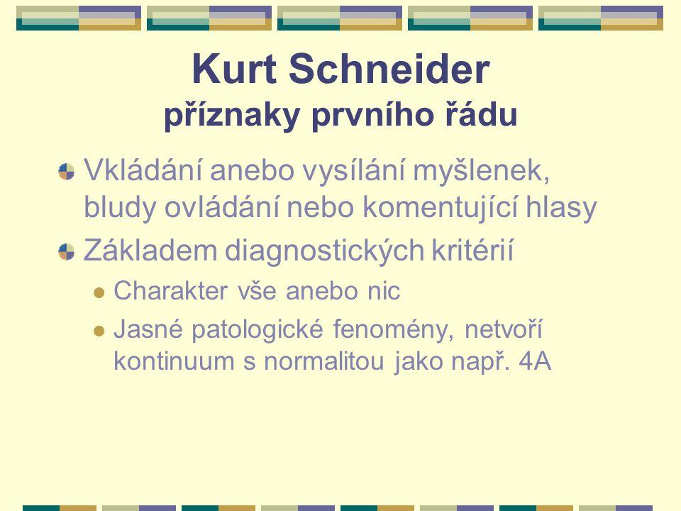 Kurt Schneider příznaky prvního řádu