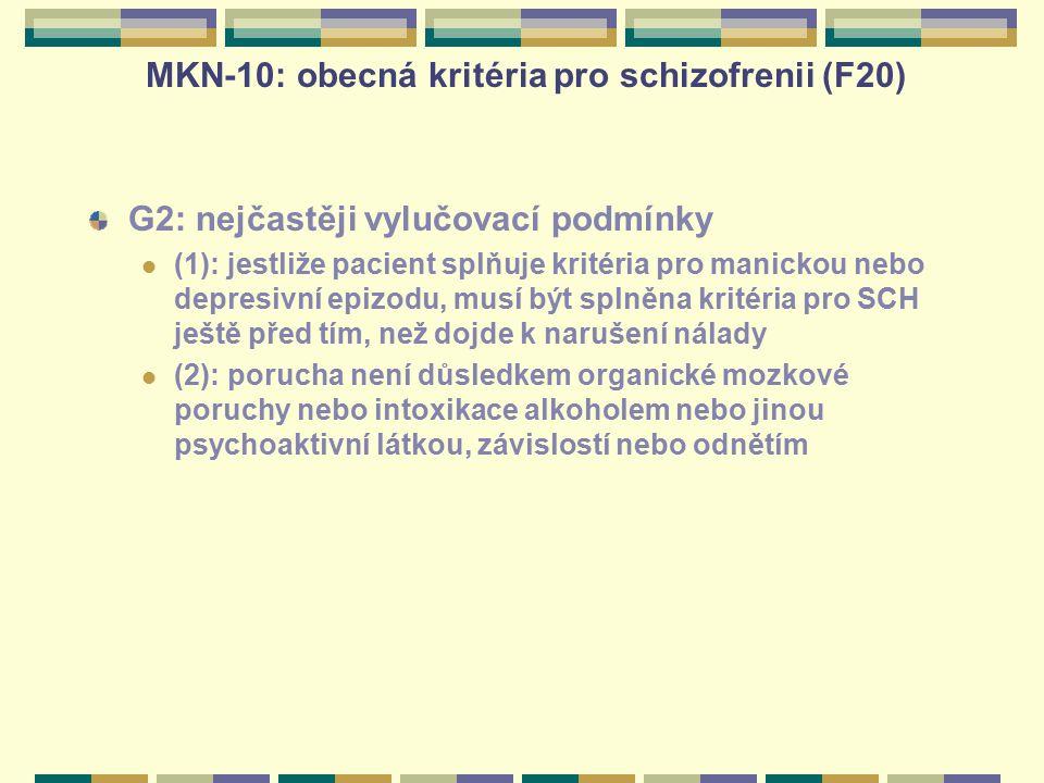 MKN-10: obecná kritéria pro schizofrenii (F20)