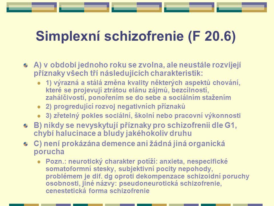 Simplexní schizofrenie (F 20.6)