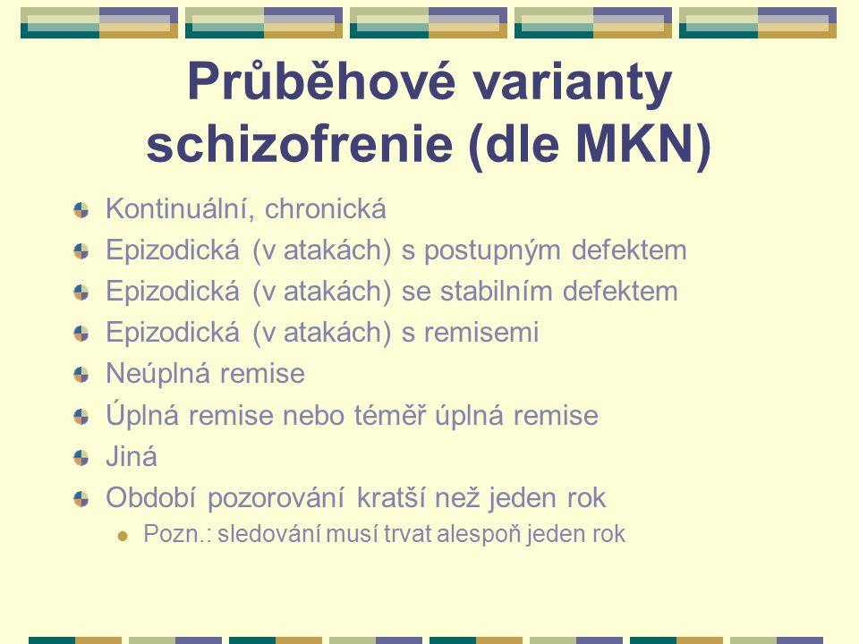 Průběhové varianty schizofrenie (dle MKN)