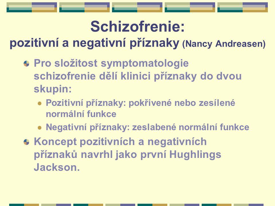 Schizofrenie: pozitivní a negativní příznaky (Nancy Andreasen)