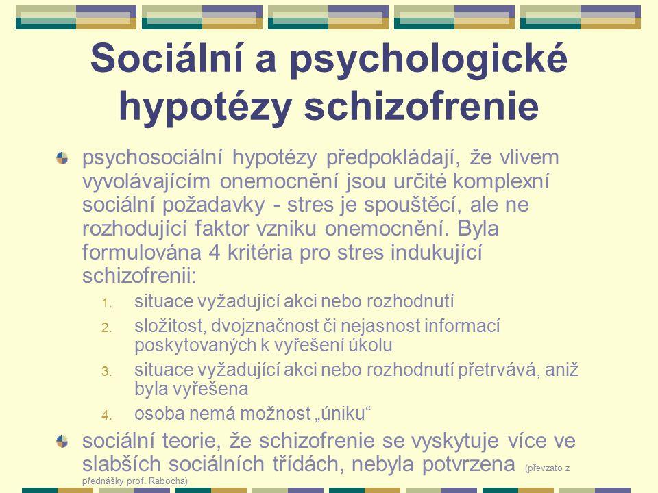 Sociální a psychologické hypotézy schizofrenie