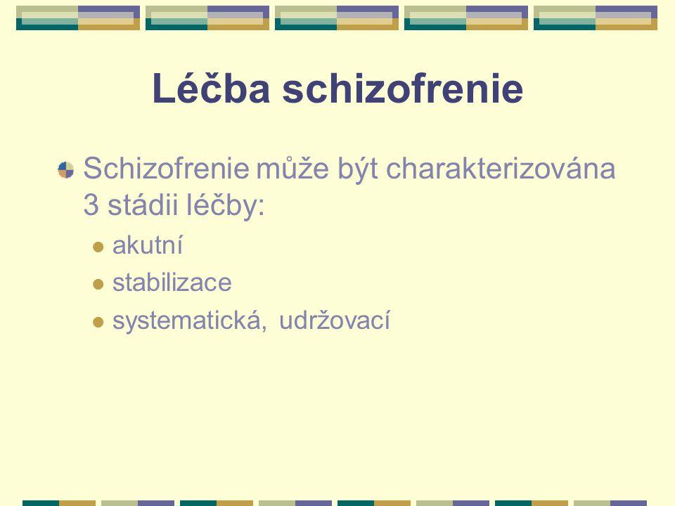 Léčba schizofrenie Schizofrenie může být charakterizována 3 stádii léčby: akutní.