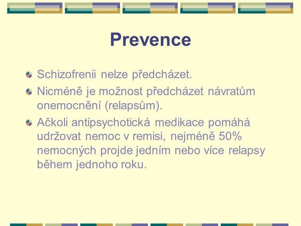 Prevence Schizofrenii nelze předcházet.