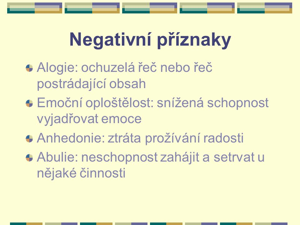 Negativní příznaky Alogie: ochuzelá řeč nebo řeč postrádající obsah