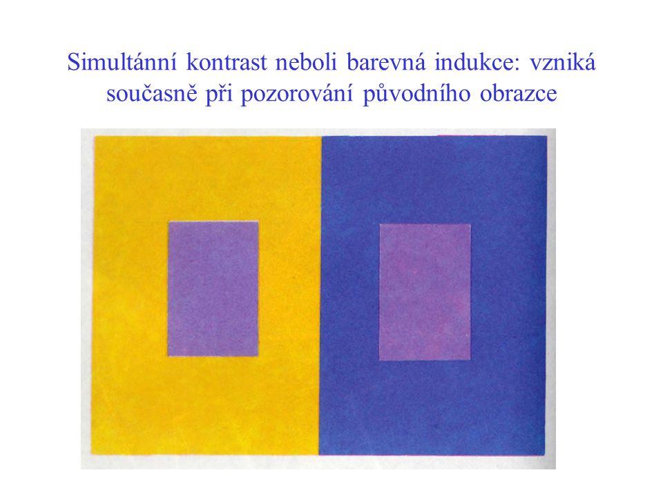 Simultánní kontrast neboli barevná indukce: vzniká současně při pozorování původního obrazce