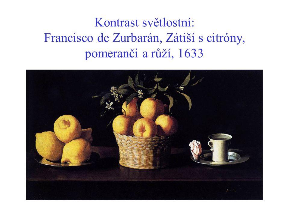 Kontrast světlostní: Francisco de Zurbarán, Zátiší s citróny, pomeranči a růží, 1633