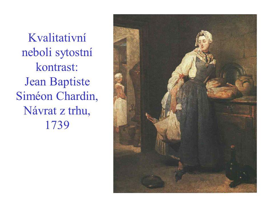 Kvalitativní neboli sytostní kontrast: Jean Baptiste Siméon Chardin, Návrat z trhu, 1739