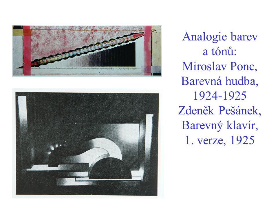 Analogie barev a tónů: Miroslav Ponc, Barevná hudba, 1924-1925 Zdeněk Pešánek, Barevný klavír, 1.