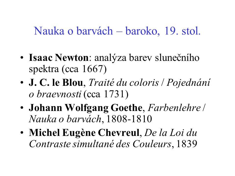 Nauka o barvách – baroko, 19. stol.