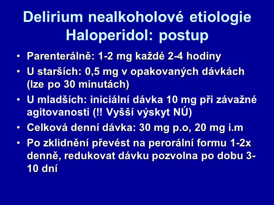 Delirium nealkoholové etiologie Haloperidol: postup