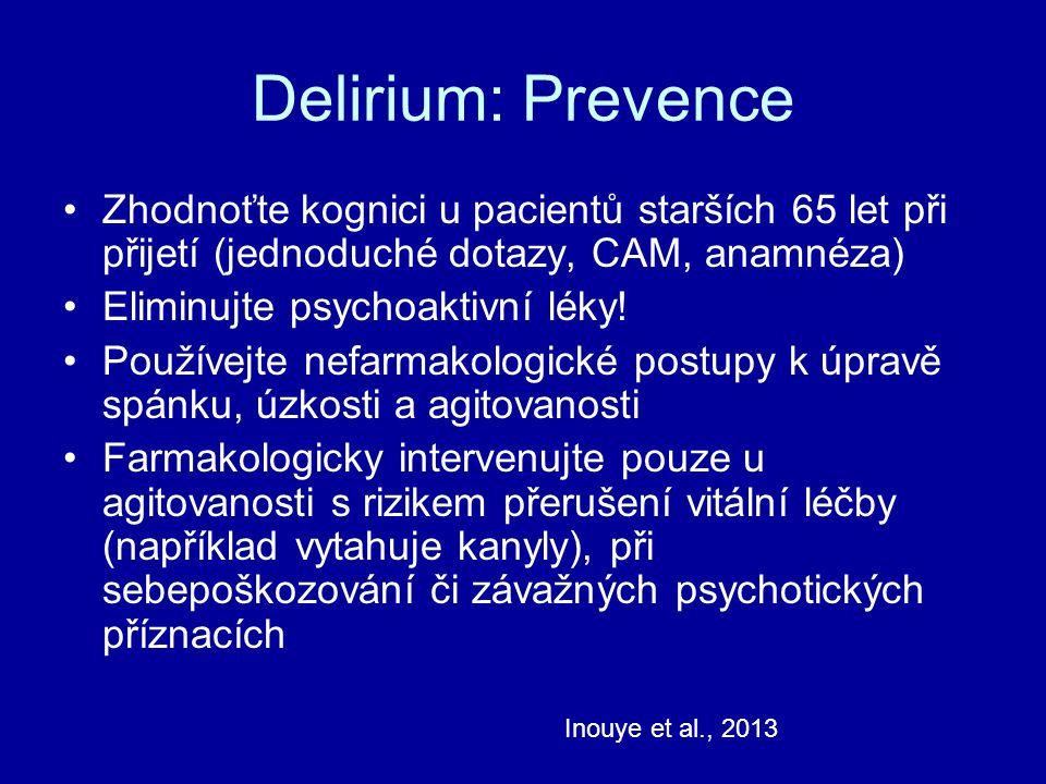 Delirium: Prevence Zhodnoťte kognici u pacientů starších 65 let při přijetí (jednoduché dotazy, CAM, anamnéza)