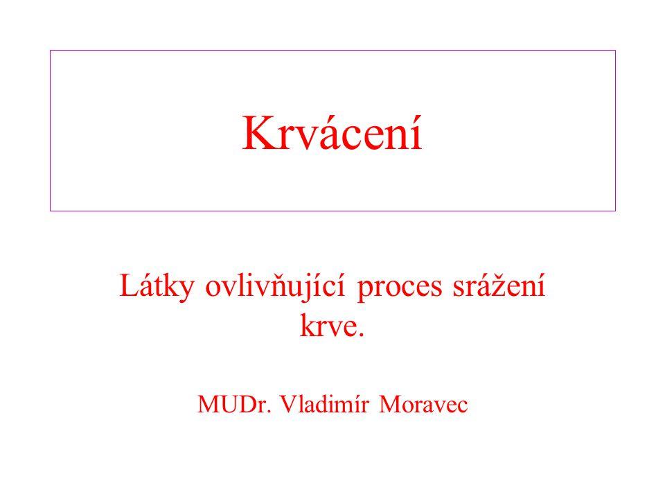 Látky ovlivňující proces srážení krve. MUDr. Vladimír Moravec