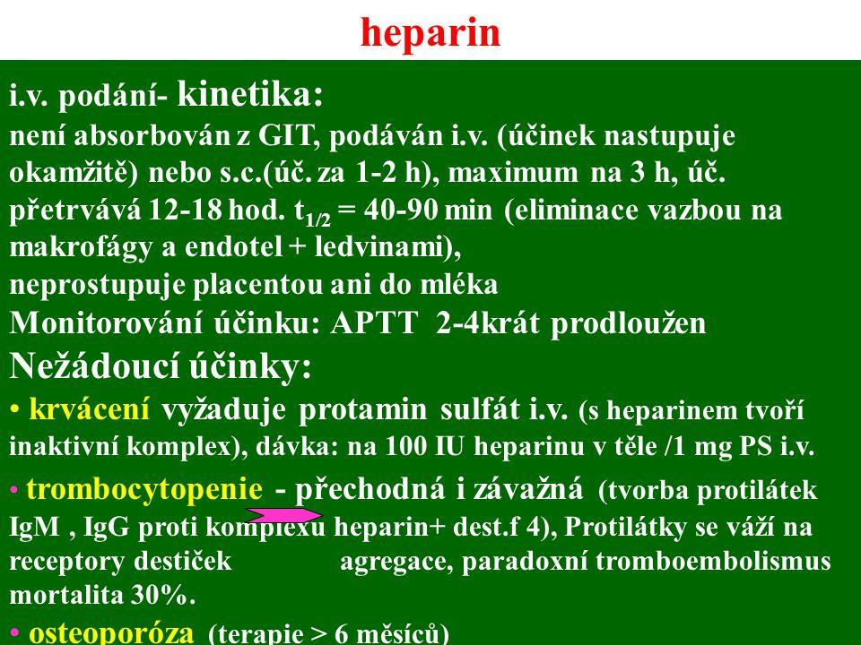 heparin Nežádoucí účinky: i.v. podání- kinetika: