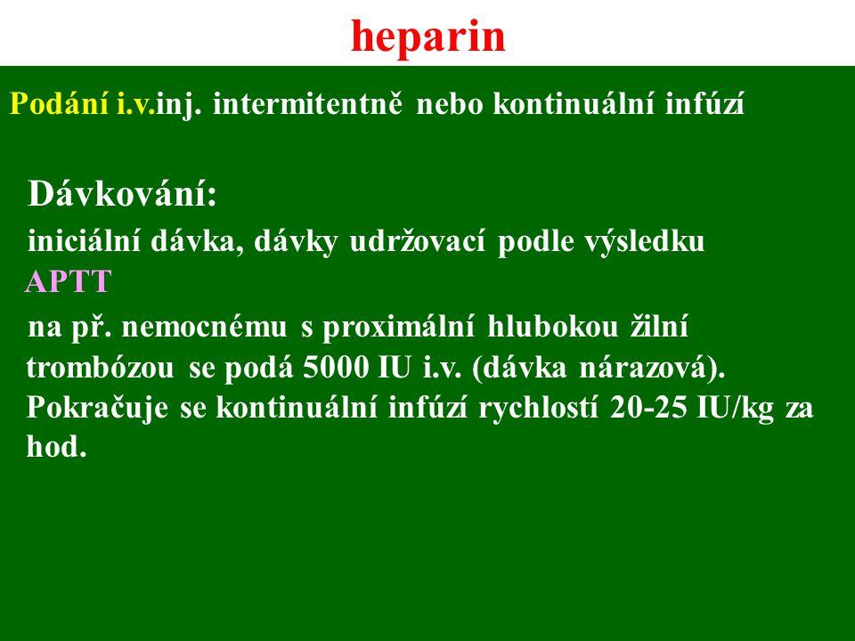 heparin Dávkování: iniciální dávka, dávky udržovací podle výsledku
