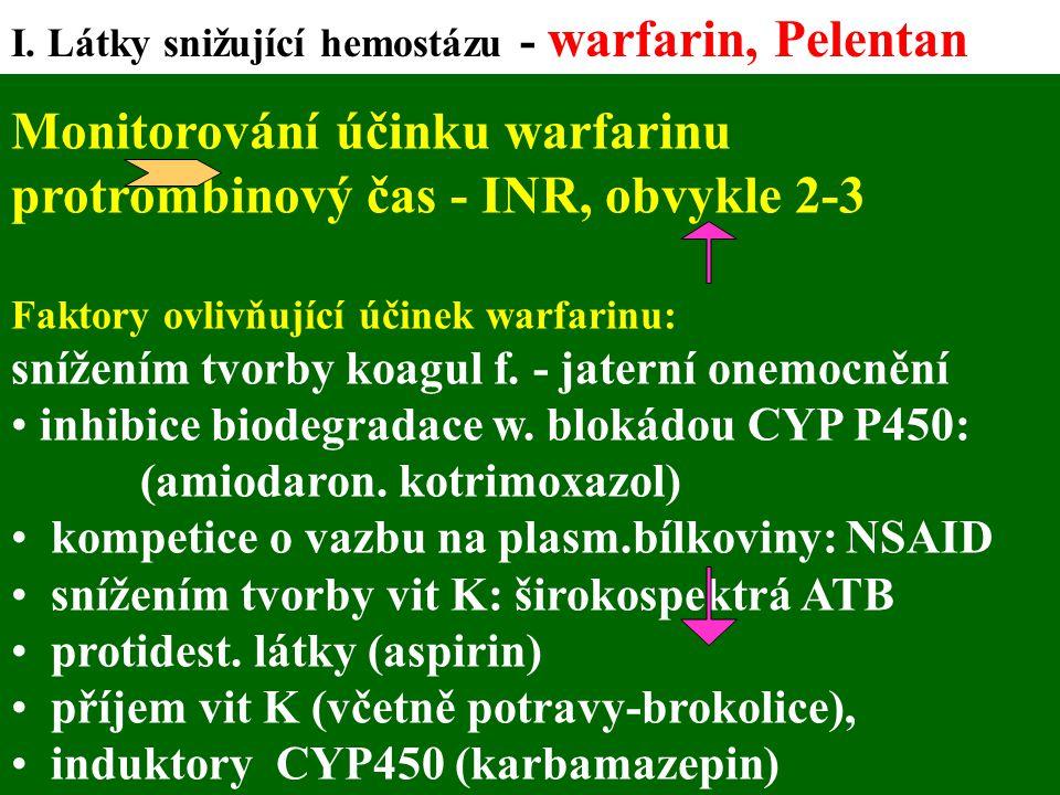 Monitorování účinku warfarinu protrombinový čas - INR, obvykle 2-3