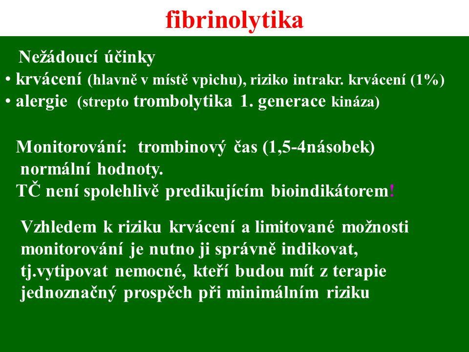 fibrinolytika Nežádoucí účinky
