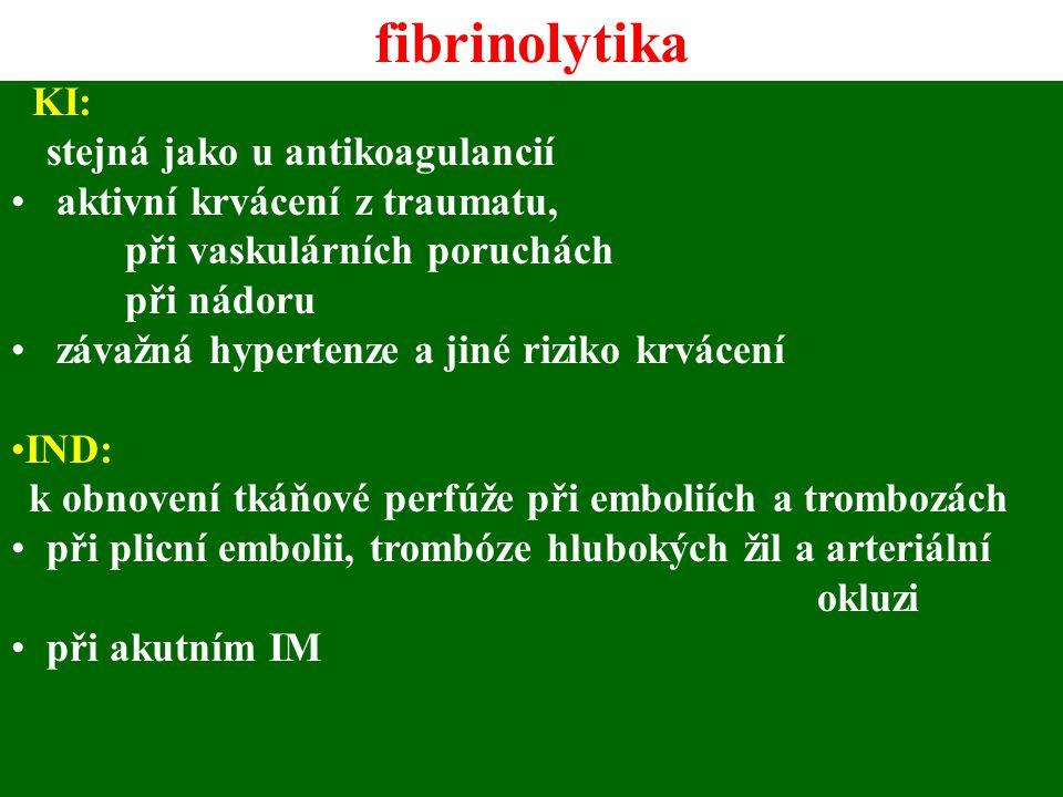 fibrinolytika KI: aktivní krvácení z traumatu,