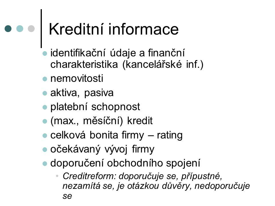 Kreditní informace identifikační údaje a finanční charakteristika (kancelářské inf.) nemovitosti. aktiva, pasiva.