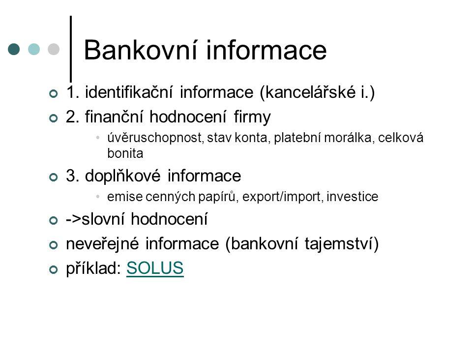 Bankovní informace 1. identifikační informace (kancelářské i.)