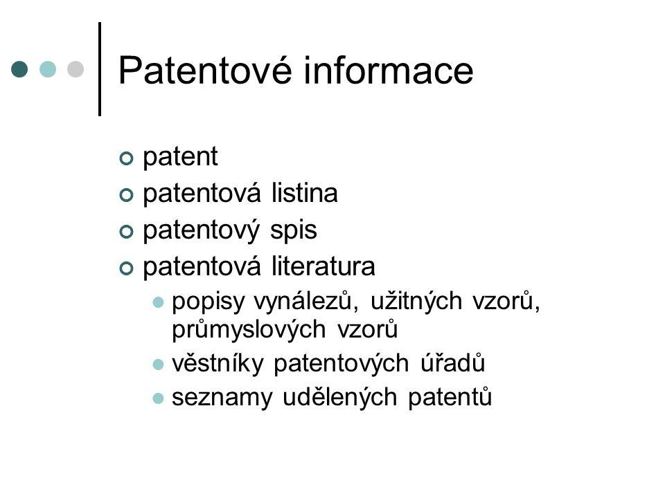 Patentové informace patent patentová listina patentový spis