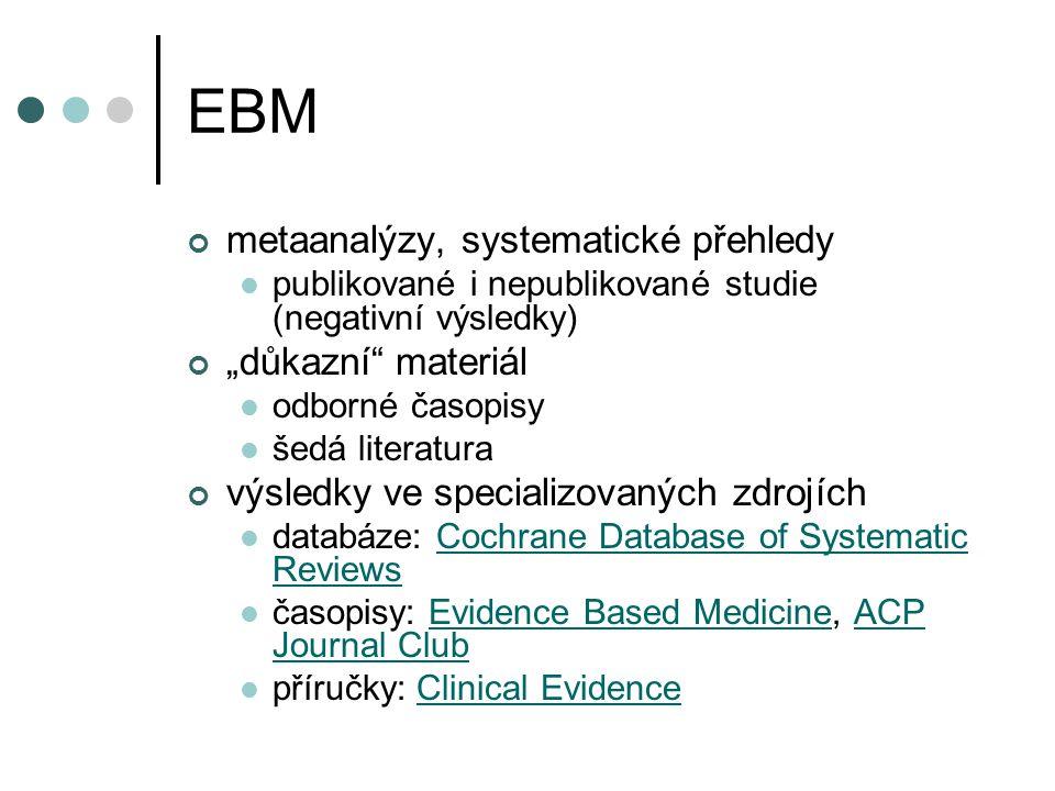 """EBM metaanalýzy, systematické přehledy """"důkazní materiál"""