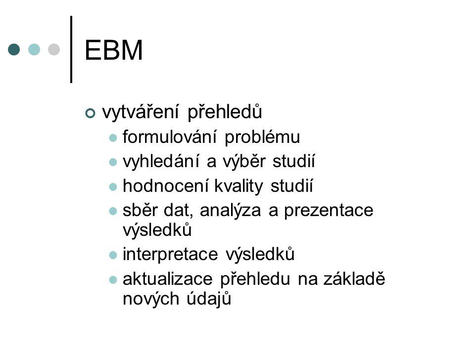 EBM vytváření přehledů formulování problému vyhledání a výběr studií
