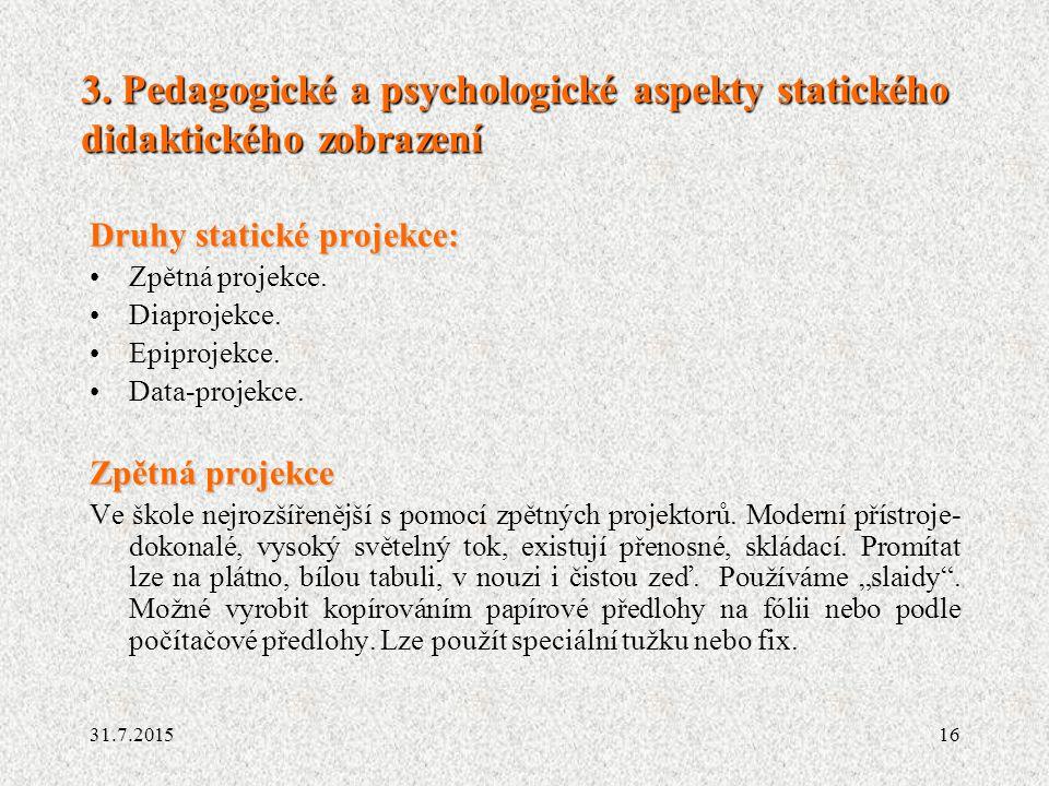 3. Pedagogické a psychologické aspekty statického didaktického zobrazení