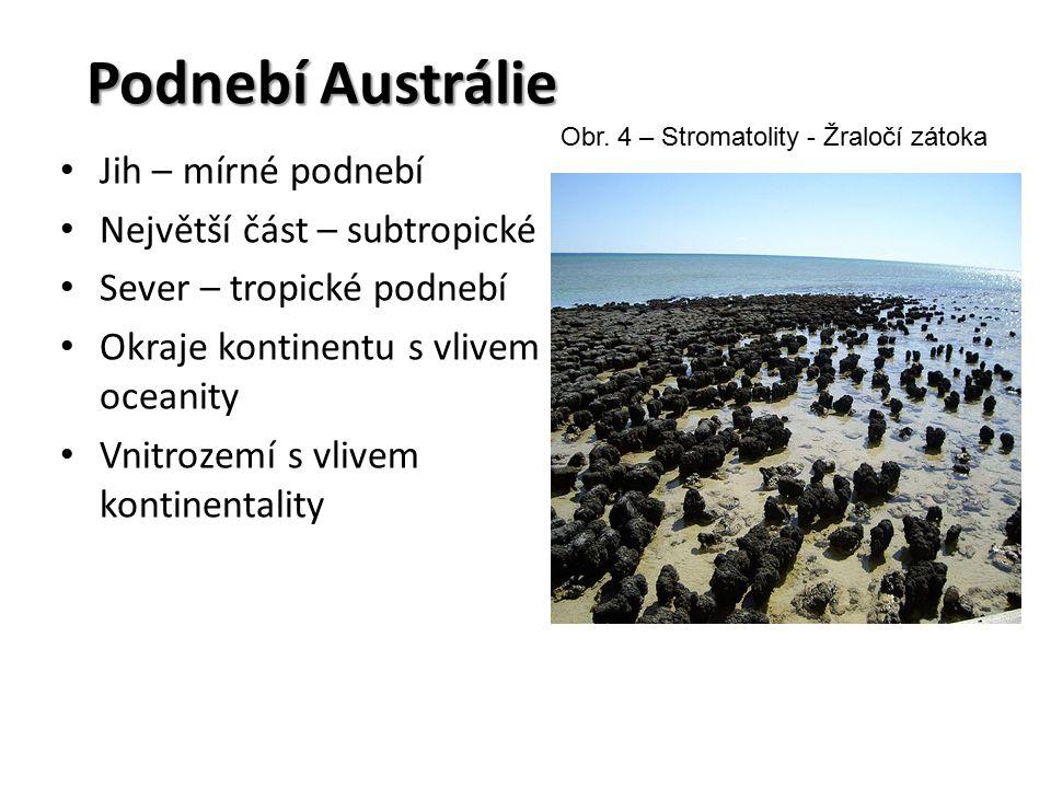 Podnebí Austrálie Jih – mírné podnebí Největší část – subtropické