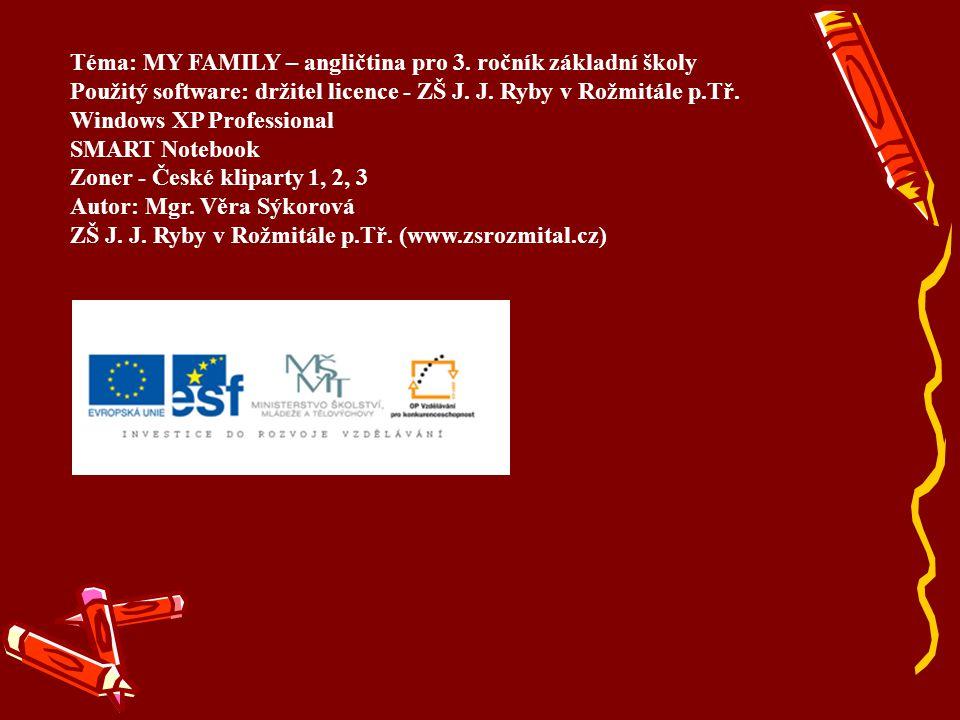 Téma: MY FAMILY – angličtina pro 3. ročník základní školy