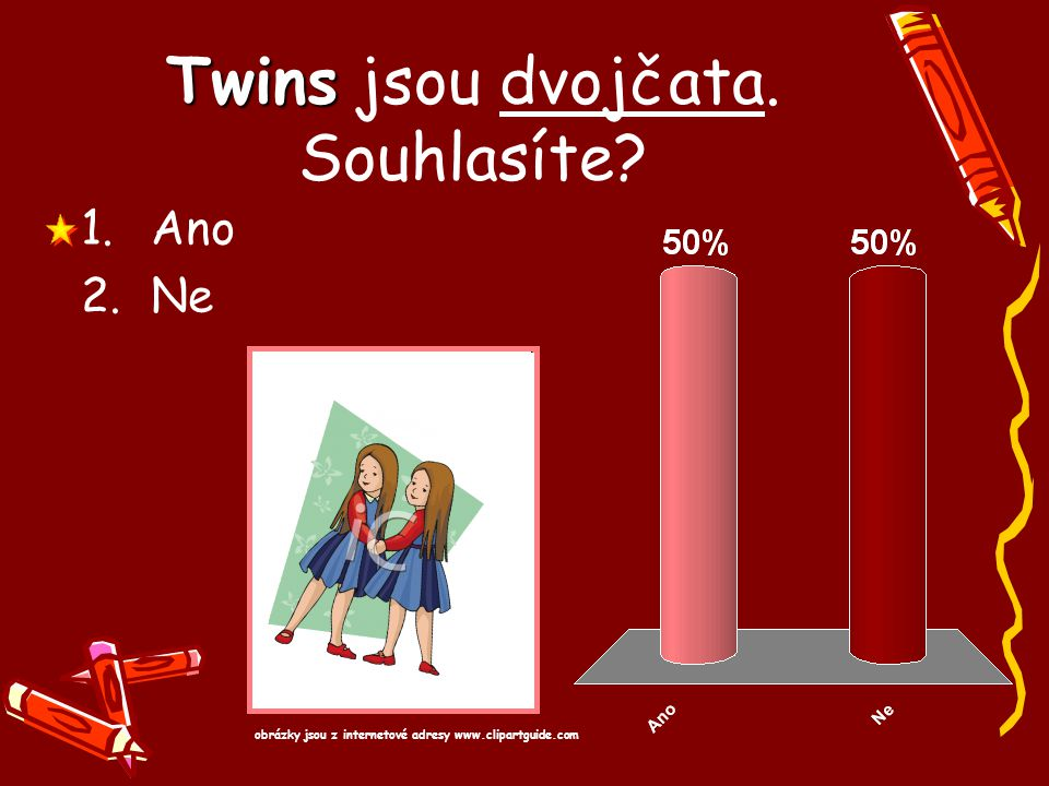 Twins jsou dvojčata. Souhlasíte