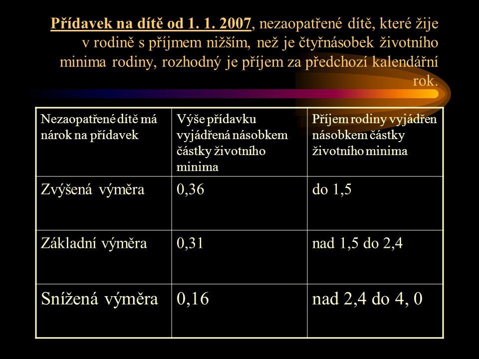 Přídavek na dítě od 1. 1. 2007, nezaopatřené dítě, které žije v rodině s příjmem nižším, než je čtyřnásobek životního minima rodiny, rozhodný je příjem za předchozí kalendářní rok.