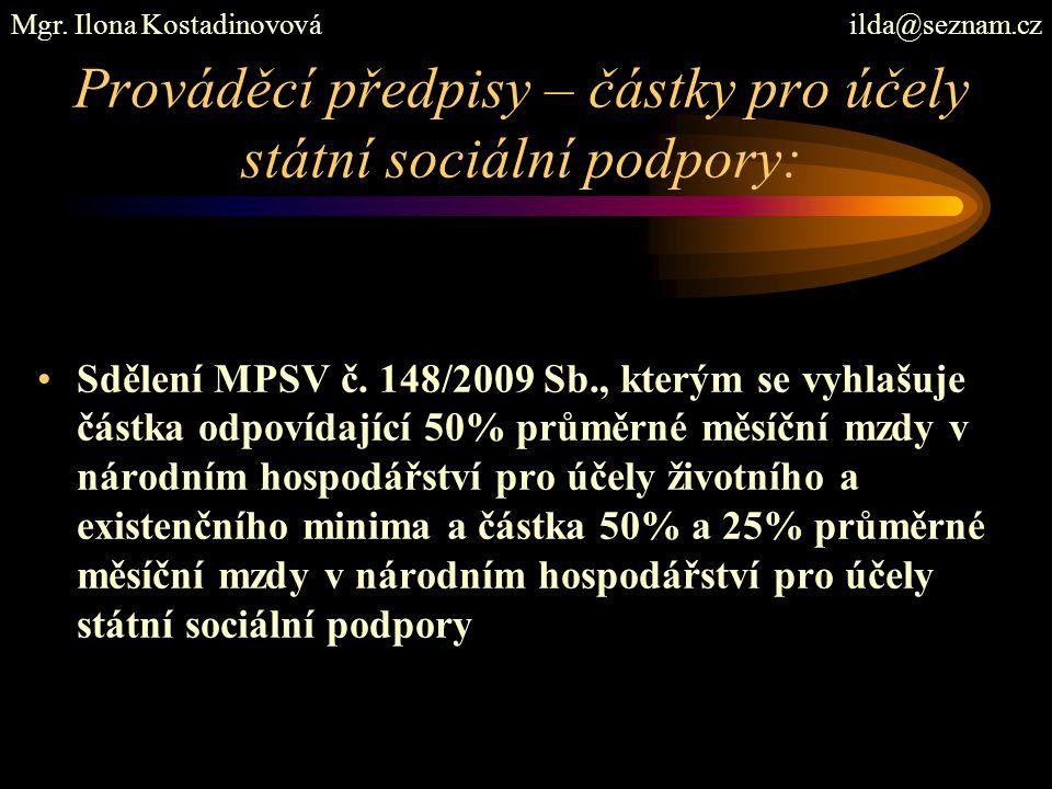 Prováděcí předpisy – částky pro účely státní sociální podpory: