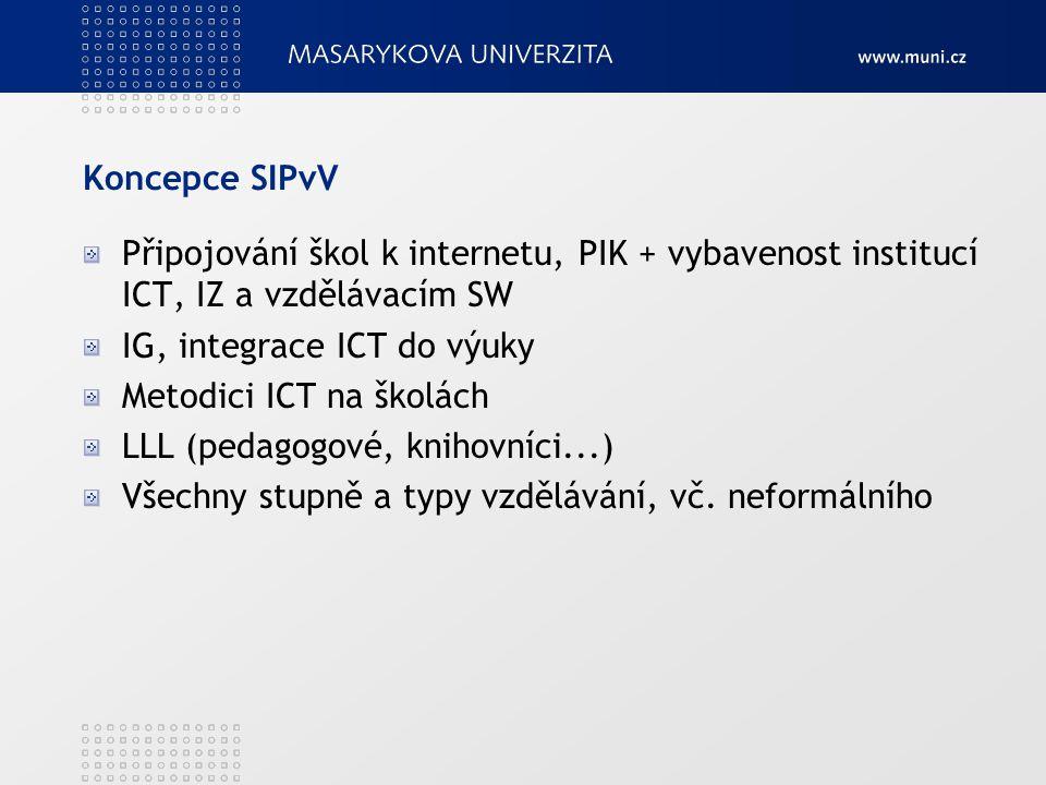 Koncepce SIPvV Připojování škol k internetu, PIK + vybavenost institucí ICT, IZ a vzdělávacím SW. IG, integrace ICT do výuky.