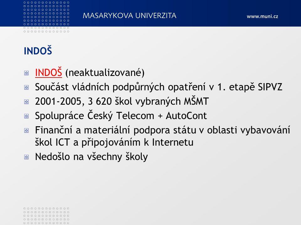 INDOŠ INDOŠ (neaktualizované) Součást vládních podpůrných opatření v 1. etapě SIPVZ. 2001-2005, 3 620 škol vybraných MŠMT.