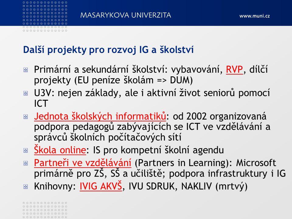 Další projekty pro rozvoj IG a školství