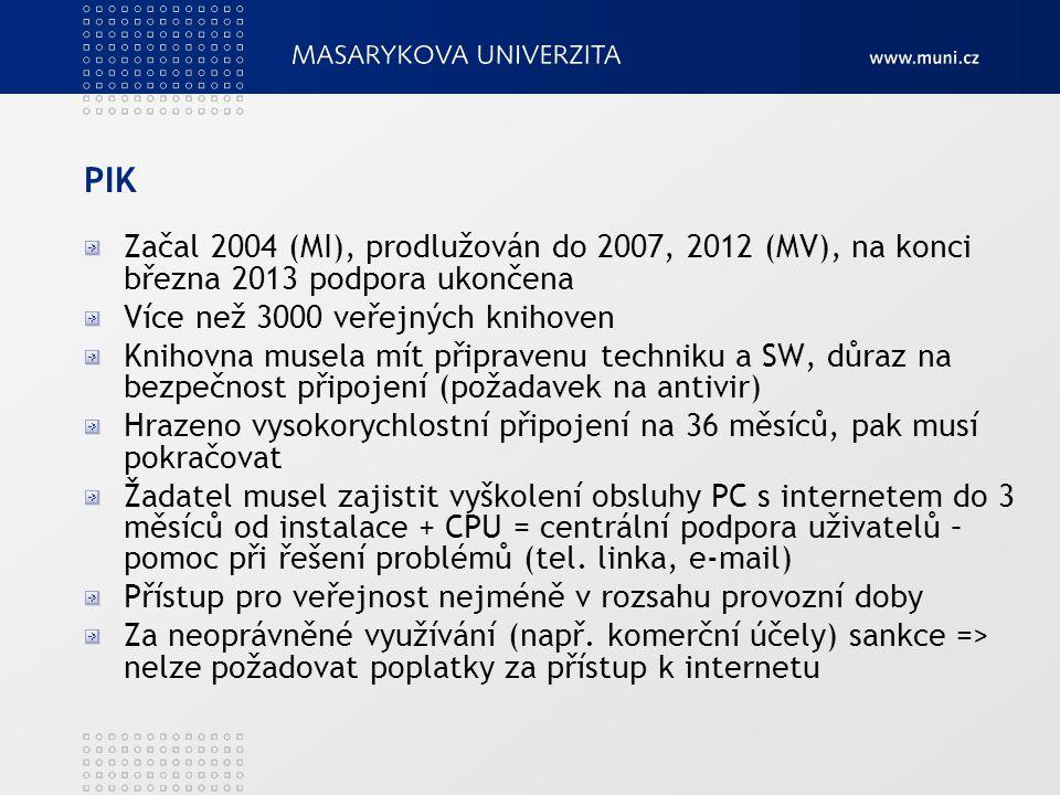 PIK Začal 2004 (MI), prodlužován do 2007, 2012 (MV), na konci března 2013 podpora ukončena. Více než 3000 veřejných knihoven.