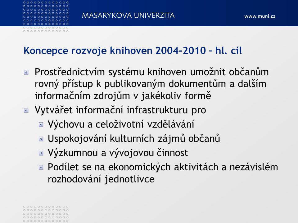 Koncepce rozvoje knihoven 2004-2010 – hl. cíl