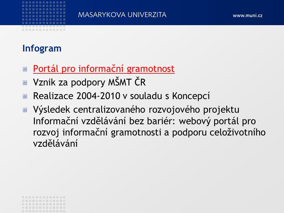 Infogram Portál pro informační gramotnost. Vznik za podpory MŠMT ČR. Realizace 2004-2010 v souladu s Koncepcí.