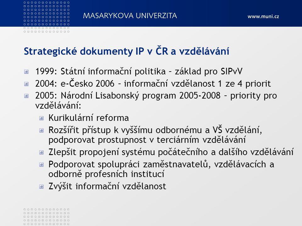 Strategické dokumenty IP v ČR a vzdělávání